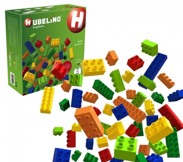 Hubelino are plastic-made and stuck together on top of one another to build any structure